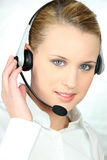 Portrait of a young woman with headset Royalty Free Stock Image