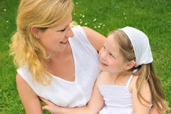 Portrait of young woman and her daughter Royalty Free Stock Photography