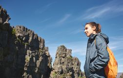 Young woman hiker hiking in beautiful mountains stock images