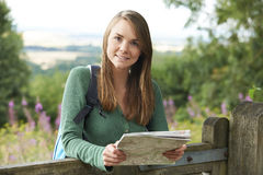 Portrait Of Young Woman Hiking In The Countryside Royalty Free Stock Photos