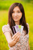 Portrait of young woman holding Royalty Free Stock Images