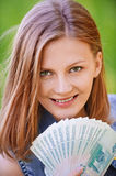 Portrait of young woman holding Stock Photo