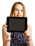 Portrait of young woman holding black tablet Royalty Free Stock Photo