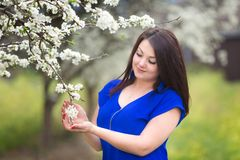 Portrait of a young woman holding a brunch of blossoming plum tree in an orchard stock photos