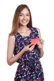 Portrait of young woman holding empty credit card Royalty Free Stock Images