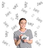 Portrait of young woman holding money banknotes on white. Background royalty free stock photo