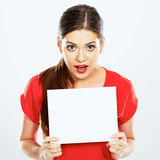 Portrait of young woman holding sign card Royalty Free Stock Photo