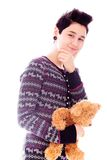 Portrait of a young woman holding teddy bear Royalty Free Stock Photos