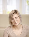 Portrait of young woman at home Royalty Free Stock Photos