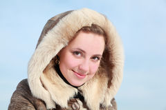 Portrait of young woman in hood Royalty Free Stock Photo