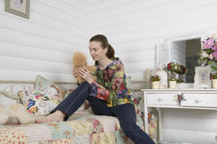 Portrait of a young woman in an interior children's room Stock Photography
