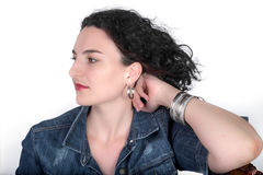 Portrait of young woman with jean jacket. Stock Photo