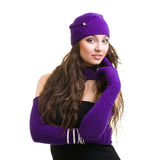 Woman in knit wool hat and mittens Royalty Free Stock Photography