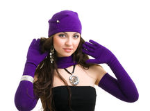 Woman in knit wool hat and mittens Royalty Free Stock Photos