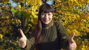 Portrait of a young woman in a knitted sweater on a background of yellowed trees stock video footage