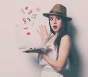 Portrait of the young woman with laptop Stock Photography