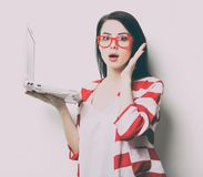 Portrait of the young woman with laptop Royalty Free Stock Image