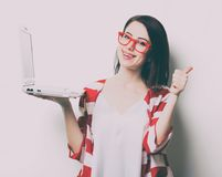 Portrait of the young woman with laptop Royalty Free Stock Photography