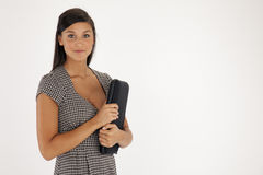 Portrait of a Young Woman with Laptop Case Royalty Free Stock Image