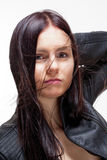 Portrait of a Young Woman in Leather Jacket Stock Photos