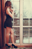 Portrait of young woman in lingerie. Royalty Free Stock Photography