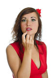 Portrait of young woman with lipstick. Royalty Free Stock Image