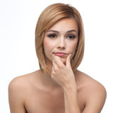 Portrait of a young woman looking borred Stock Photos