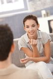 Portrait of young woman looking at her man happily stock image