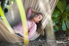 Portrait of Young Woman Lying Down Royalty Free Stock Image