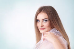 Portrait of a young woman with make-up in blue colors Stock Photo