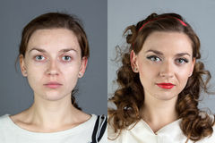 Portrait of young woman before and after make up Stock Photos