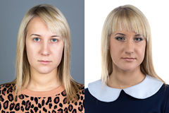 Portrait of young woman before and after make up Royalty Free Stock Image