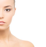 Portrait of a young woman in makeup on white Royalty Free Stock Image