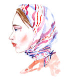 Portrait of young woman without makeup in white and pink striped headscarf, natural beauty. Isolated hand painted watercolor illustration, portrait of young Stock Image
