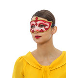 Portrait of a Young Woman with a Mask Royalty Free Stock Images