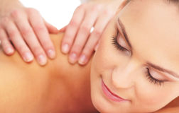 Portrait of a young woman on a massage procedure Stock Photo