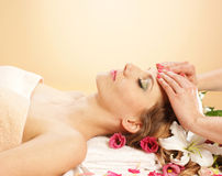 Portrait of a young woman on a massage procedure Royalty Free Stock Photos
