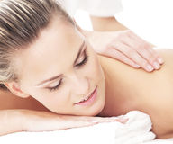 Portrait of a young woman on a massage procedure Stock Photography
