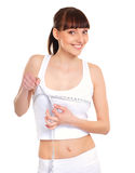 Portrait of a young woman measuring her breast Royalty Free Stock Photo