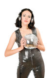Portrait of young woman with a mirror ball Royalty Free Stock Image