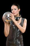 Portrait of young woman with a mirror ball Royalty Free Stock Images