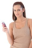 Portrait of young woman with mobile Stock Photography