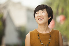 Portrait of Young Woman in Nanluoguxiang, Beijing, China Stock Photos