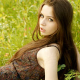 Portrait of young woman at nature Stock Images