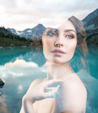 Portrait of young woman and nature landscape Stock Photo