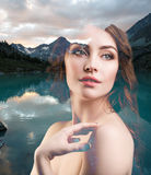 Portrait of young woman and nature landscape Royalty Free Stock Images