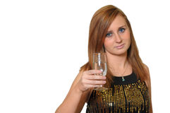 Portrait of young woman offering a glass of champagne. Royalty Free Stock Images
