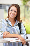 Portrait young woman outdoors. Smiling at camera Stock Photo