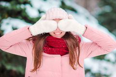 Portrait of young woman outdoors on beautiful winter snow day Stock Photography