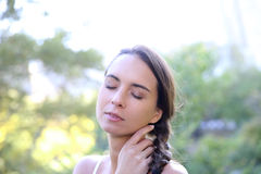 Portrait of young woman outdoors Royalty Free Stock Image